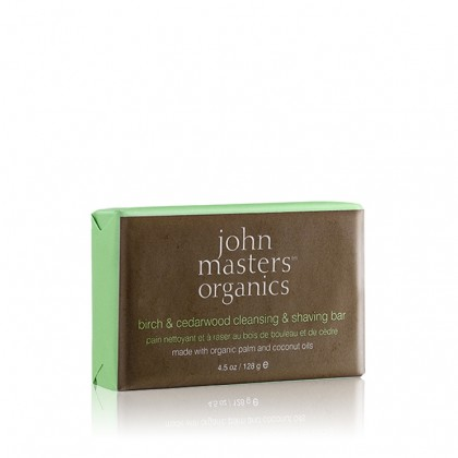جون ماسترز اورجانيكس صابون الحلاقة والتنظيف بالبتولا وخشب الأرز - 120 غ